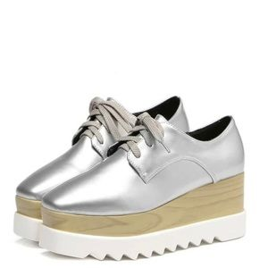 Silver Round Toe Lace-up Platform Sneakers